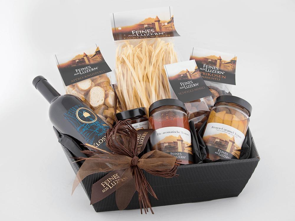 Geschenk-Korb «Menü mit Rotwein» - Feines aus Luzern®